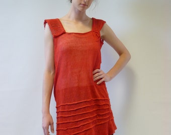 Exceptional transparent red orange tunic, M/L size. Handmade, only one sample, 100% linen.