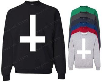 Inverted White Cross Crewneck Spanish cross Sweatshirts