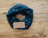 Polka Dot Scarf Teal and Orange Infinity Scarf, Soft, Lightweight, Year-round Scarf, Fall Scarf, Winter Scarf Fall Accessory