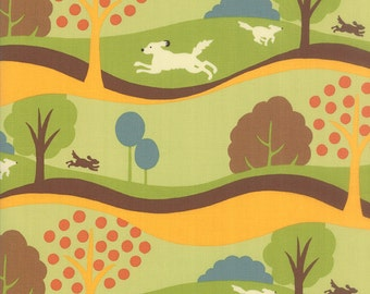 Neco Fabric Frolic in Grass Green, Japanese Fabric from MoMo for Moda Fabrics.
