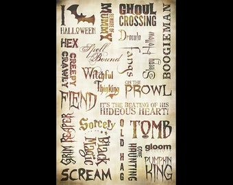 "Haunted Words Collage Paper - Antique Caramel - 10 1/2"" x 16"" - SKU:CLPR0035"