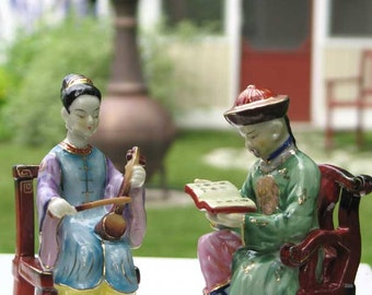 Pair of Shafford China Hand Painted Oriental Figurines