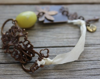 Vintaj Natural Brass Ribbon Bracelet