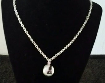 Handmade Silver Chain necklace with Hand Cut Cabochon Pendant