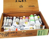 Egg Tempera Paints Lot, High Quality, Nearly As New, Includes Wood Case, Art Supplies