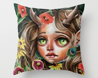 MADE to Order Wildflower Throw Pillow Cover Pretty Big eyed Girl Pop Surrealism Contemporary Lowbrow Fairy Forest folk Nymph