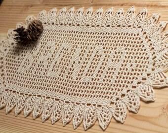 Crochet Name Doily, Crochet Doilies, Filet Crochet, Unique Wedding Gift, Crochet Wall Hanging, Cotton Anniversary Gift, Housewarming Gift