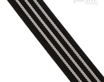 30mm Elastic Band With Three White - Rubber lines :130660