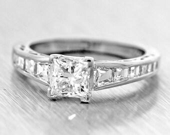 Platinum 1.49ct Princess & Baguette Cut E-F SI Diamond Engagement Ring MSRP 11400