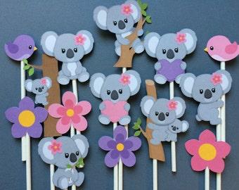 Koala bear cupcake toppers, 14 koala bear, koala bear cake topper, koala bears cupcake toppers, koala bear theme birthday party or shower