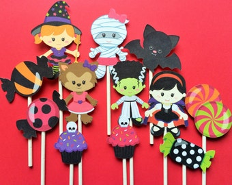 12 Halloween kids in costume cupcake toppers, Halloween toppers, Halloween party cake toppers, costume party cupcake toppers for Halloween