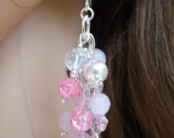 Pink cluster earrings, fun earrings, pink earrings, summer earrings, sterling wires