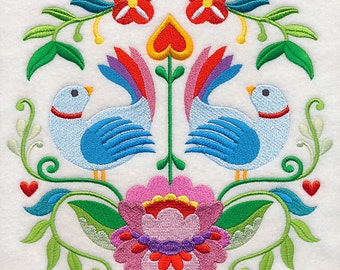 SWEDISH FOLKART BLOCK Colorful Bird Duo Motif Machine Embroidered Quilt Block, Panel