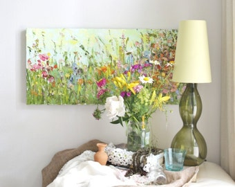 Oil Painting Landscape Flowers Abstract Landscape Oil Painting Canvas Painting Landscape Impasto Custom English Palette Knife Green Blue Art