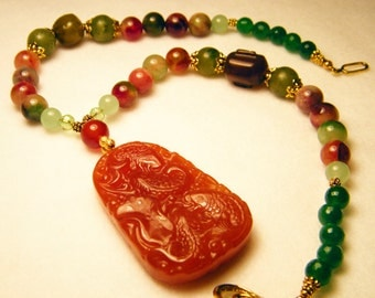 Red and Candy Jade Pendant Necklace