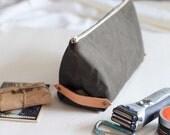 Olive green waxed canvas dopp bag, waxed canvas pouch, leather dopp bag, leather and canvas toiletry bag