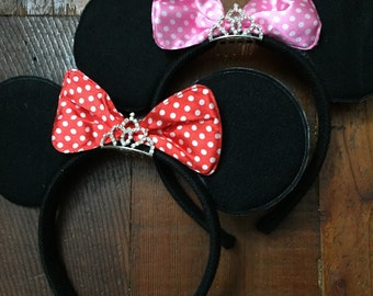 Minnie Mouse Ears with Tiara, Minnie Mouse Props, Minnie mouse costume, Disneyland Trip, party favor