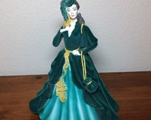 ON SALE Scarlett O'Hara Musical Figurine Gone With the Wind Green Velvet Vintage