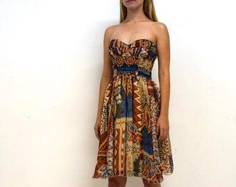Vintage Tribal Print Strapless Dress