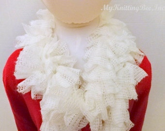 Hand Knit Off White Ruffle Scarf