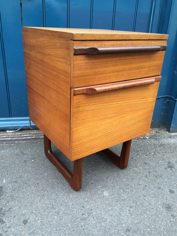 Retro Style Container Bedside Table: 1960s Uniflex Side Cabinet. Vintage / Retro / Mid Century