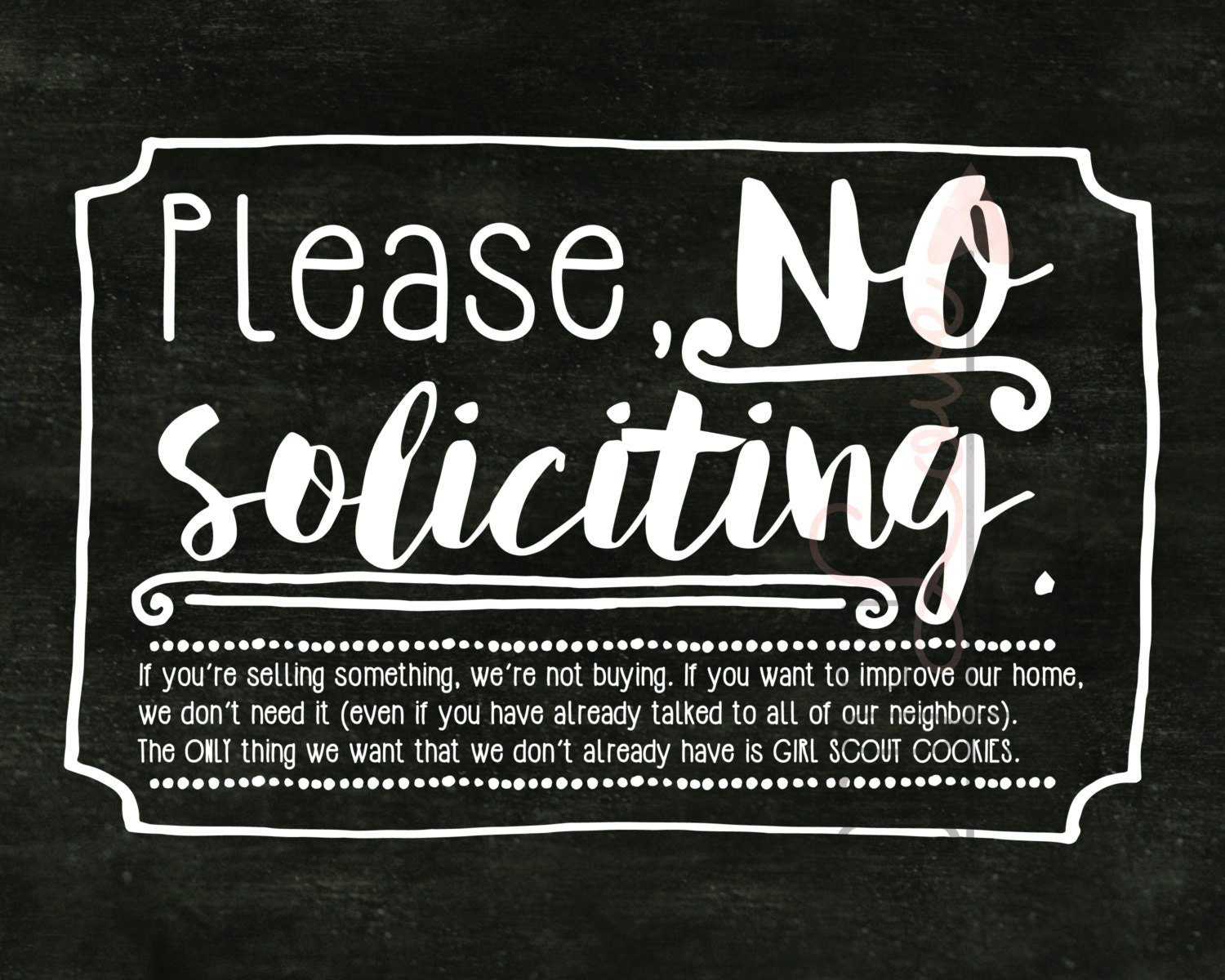 No Soliciting Sign For Front Door Print Frame And Hang
