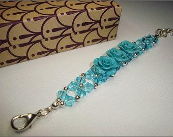 Bracelet, Swarovski crystals, blue, silver