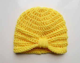 Handmade Crochet Baby Turban Style Hat in Citron (Yellow) 0-3 Months, Ready to Ship, great photo prop! Baby Gift, Baby Showers