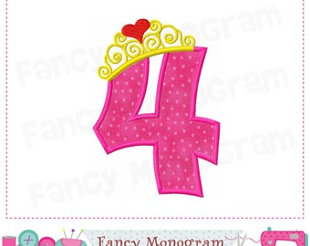 Princess Crown Number 4 applique,4,Birthday Number 4 applique,4,Princess Crown, Princess,Crown,Birthday,Girl applique.