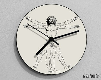 Vitruvian Man , Leonardo da Vinci, Anatomy, Leonardo Da Vinci Drawing, Da Vinci Illustration,  - Wall Clock