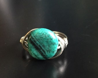 Malachite wire wrapped ring