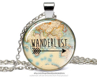 Wanderlust Vintage Map Necklace -  Handmade