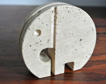Vintage travertin elephant. Made in Italy. Fili Manelli or Fratelli Manelli