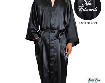Mens Embroidered Satin Robe, Personalized Mr Robe, Monogrammed Mens Robe, Ankle Length Mens Robe, grooms robe, groom robe, mens satin robe