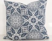 Navy blue & white paisley with natural european linen cushion cover - designer cushion 50 x 50 cm - FREE SHIPPING Australia wide