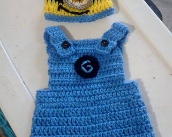 Crochet Minion Baby overalls and hat costume