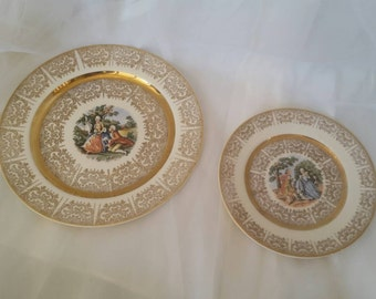 "TWO Vintage Gold United China And Decoratin Co. 22k Gold Plate Courting Couple Romantic Colonial Royal  9.25""diameter/7""diameter"