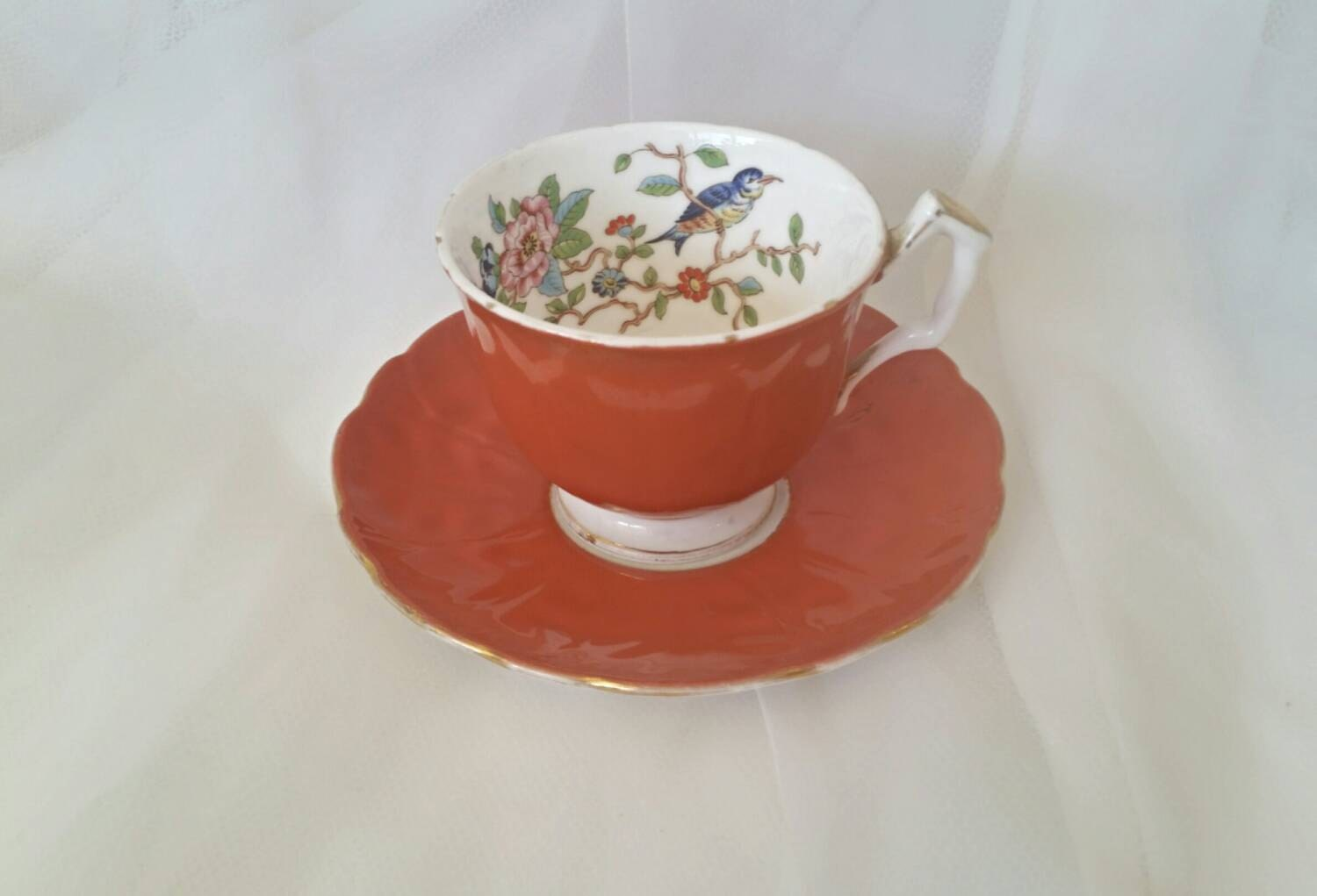 Aynsley English Teacup Saucer England Bone China Bird Branch Gold Red Orange 2902 Vintage Teaparty Haute Juice