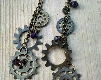 Bronze and purple steampunk earrings