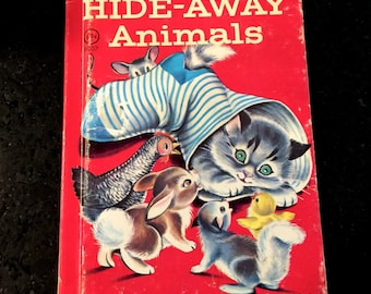 Vintage Junior Elf Book, Hide Away Animals, Rand McNally, By Mabel Watts, Illustrated by Mary Jane Chase, Copyright 1957,