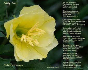 Only You Poem by Dan Coppersmith, Celebrate Your Uniqueness, Uplifting Poem & Photography, Feel Good Poem