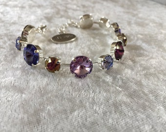 12mm swarovski crystal bracelet PURPLE, bridesmaids gift, wedding jewelry