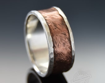 Textured wide band, Sterling silver Copper ring, Mixed metals band, Silver Men band, Rustic wedding band, Organic copper band, matching band