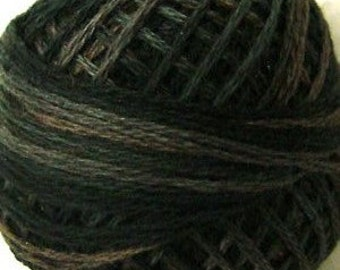 Size 8   O540 Black Olive   VALDANI PERLE COTTON   Variegated Color   Hand Dyed Thread   73 Yard Cotton Ball