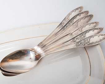 Set of 6 Vintage Silver plated Metal Desert Spoons, Art Nouveau style (CI810)