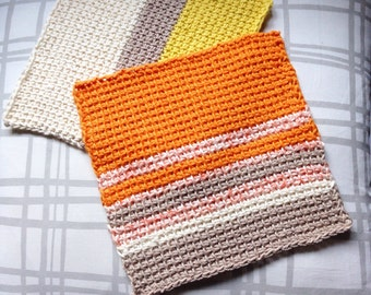 Tunisian crochet cotton eco friendly washcloth