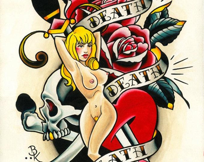 Death Death Death Tattoo Art Print