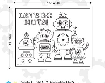"Robot Printable Giant Coloring Poster 48"" x 36"" 