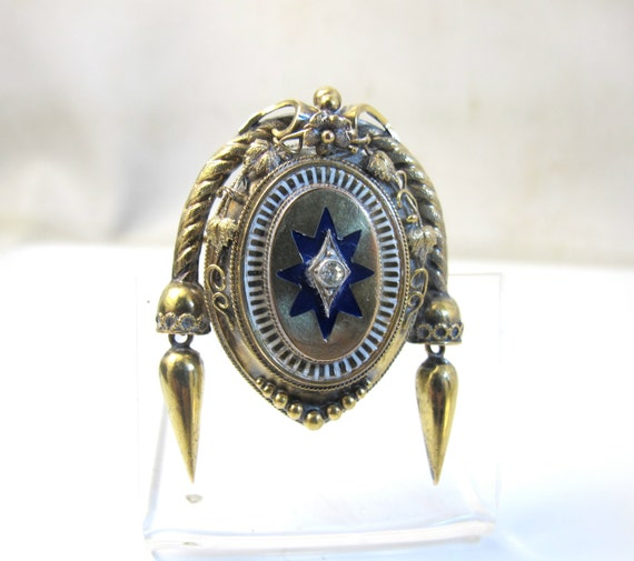 10K Victorian Locket Brooch