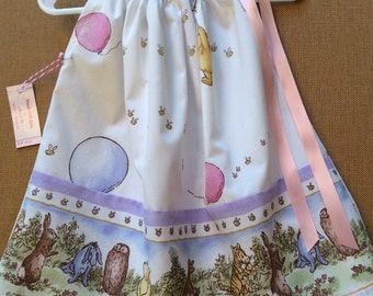 Toddler Winnie the Pooh dress with balloon vintage fabric-made to order in size 6 month-4T.  This would be a perfect birthday dress!